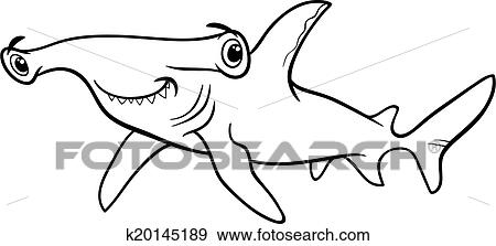 clip art hammerhead shark coloring book fotosearch search clipart illustration posters - Shark Coloring Book