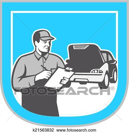 Clipart of Auto Mechanic Car Repair Retro k9042453 - Search Clip ...