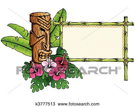 Clipart of Detailed hawaiian banner with tiki k3777513 - Search ...