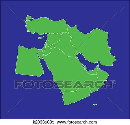 - 中东, 地图