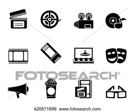 电影院logo_剪贴画 - 电影剧场, 同时,, 电影院, 图标