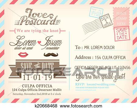 Clip Art of Vintage airmail postcard background vector template – Rom Invitation Card