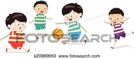 Clipart of Little Kids Playing Basketball k20969650 ...