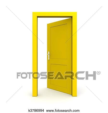 Dessin - ouvert, unique, porte jaune. Fotosearch - Recherche de Clip Arts, d'Illustrations et d'Images Vectorisées au Format EPS