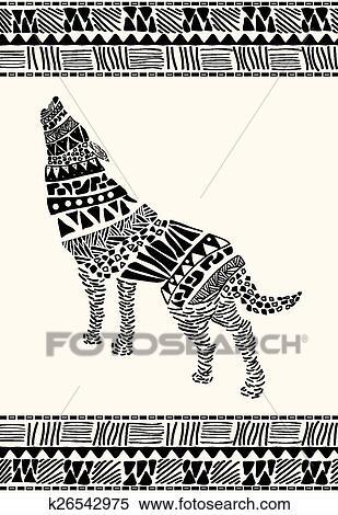 Clipart d taill dessin de loup dans azt que s k26542975 recherchez des clip arts des - Dessin azteque ...