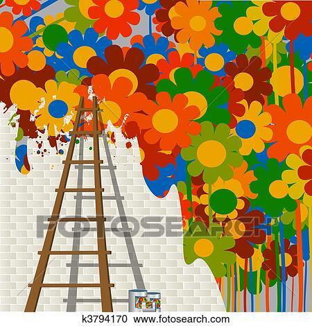 Banque d 39 illustrations mural peinture k3794170 for Dessin mural peinture