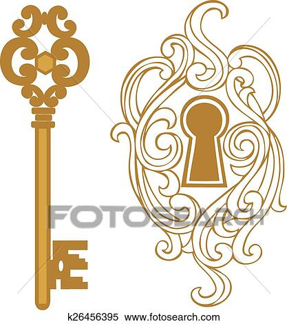 clipart of key keyhole k26456395 search clip art illustration rh fotosearch com Decorative Line Clip Art Tea Cup Clip Art