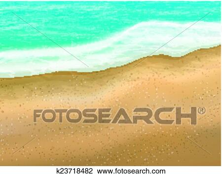 Clipart Of Sand Beach Scene Background K23718482