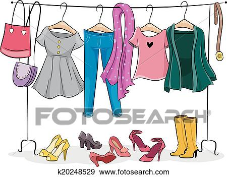 Kleiderständer clipart  Clip Art of Female Clothing Rack k20248529 - Search Clipart ...