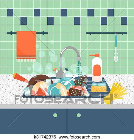 clipart vier sale kitchenware et dishes vecteur illustration k31742376 recherchez. Black Bedroom Furniture Sets. Home Design Ideas