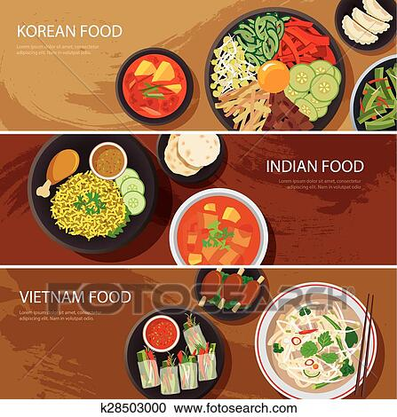 Clipart of asia street food web banner korean food for Art of indian cuisine