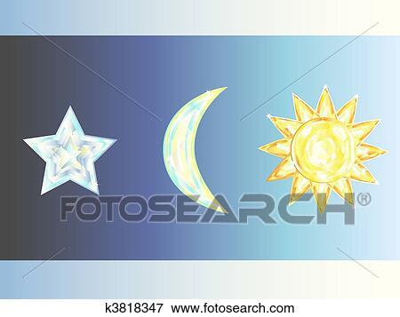 太阳, 星, 月亮