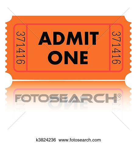 Clip Art of Admit One Ticket k3824236 - Search Clipart ...