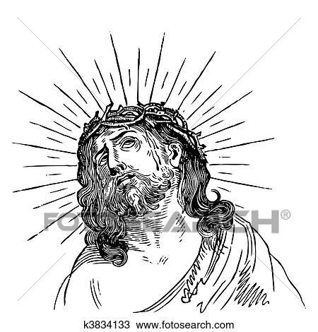 手绘图 - 古董, 耶稣,