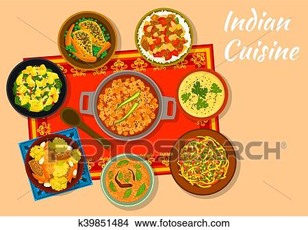 Clipart of indian cuisine spicy dishes for lunch menu design clipart indian cuisine spicy dishes for lunch menu design fotosearch search clip art forumfinder Choice Image