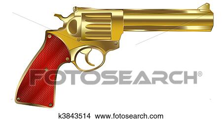 手绘图 - 金色, 枪
