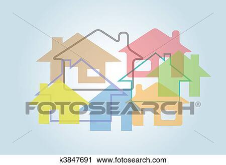 Clipart eigenheim abstrakt haus formen h usser for Haus formen