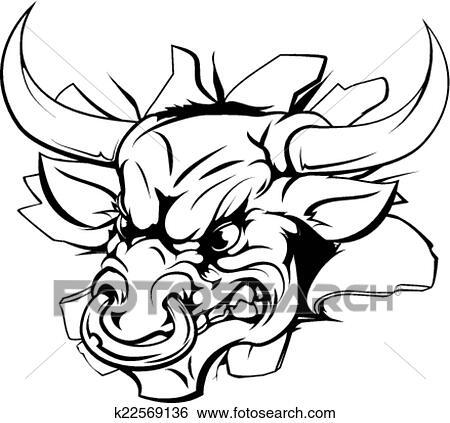 Clipart taureau d chirer par fond k22569136 recherchez des cliparts des illustrations - Dessin tete taureau ...