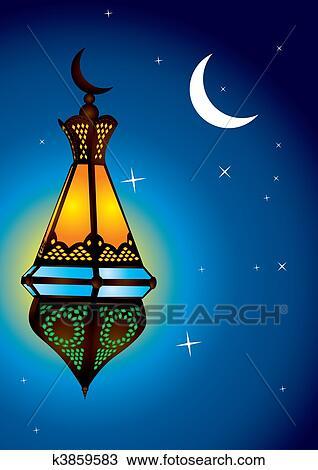 スケッチ - 複雑, アラビア, ランプ, ∥で∥, 月, 三日月. F... 複雑, アラビア