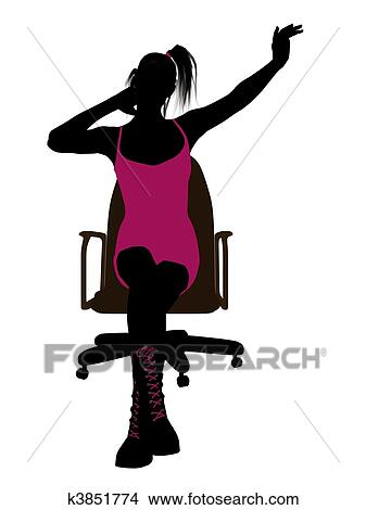 A Punk Girl Sitting On An Office Chair Silhouette White Background