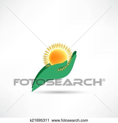 剪贴画 - 手, 保护, 太阳