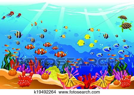 Clipart of marine underwater scene k19492264 search clip art clipart marine underwater scene fotosearch search clip art illustration murals drawings voltagebd Gallery