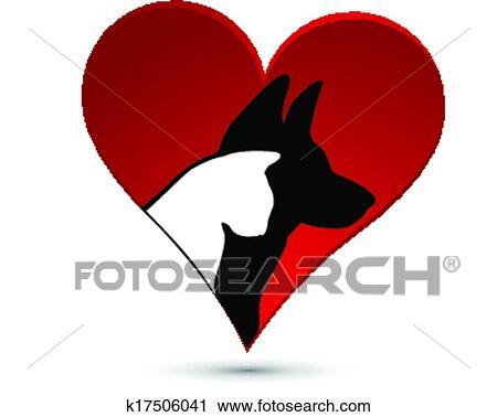 Black Cat And Dog Heads Company Logo