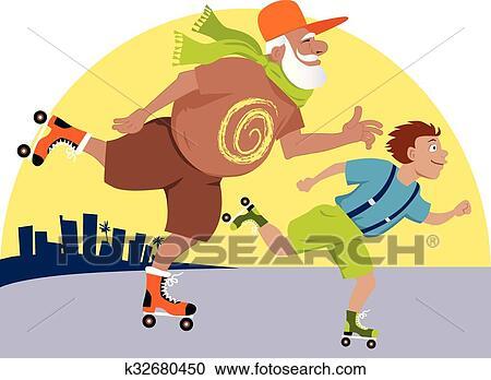 剪贴画 - 爷爷, 同时,, 孩子, 滑冰图片