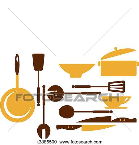 Kitchen Tools Drawings clipart of kitchen tools for cooking and frying -1 k3885500