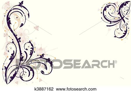 Clipart of Vector grunge floral background k3887162 ...