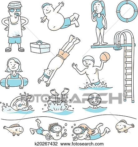 Cartoon Set Of People Swimming For Recreation