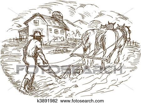 Clip Art Of Farmer And Horse Plowing The Field With Barn Farmhouse