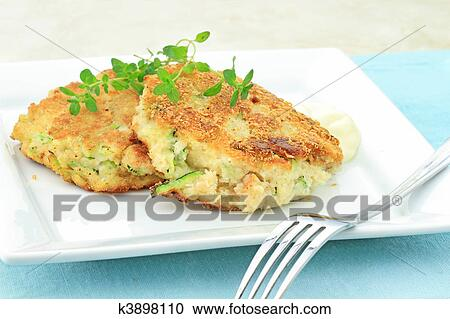 Stock Photography of Zucchini Crab Cakes k3898110 - Search ...