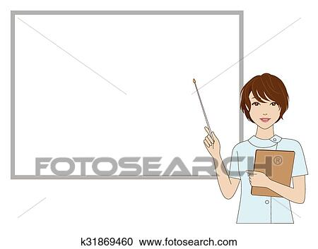 Clipart Of Female Dental Assistant Holding A P K31869460