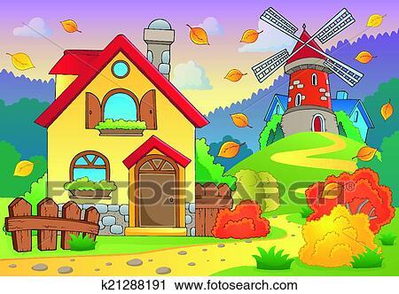 剪贴画 - 秋季, 主题, 房子, 同时,, 风车图片