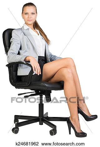 Banque de photo femme affaires dans chaise bureau for Chaise dos droit