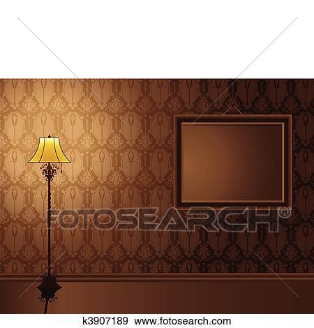 clipart vendange cadre accrocher dessus mur antiquit lamp k3907189 recherchez des. Black Bedroom Furniture Sets. Home Design Ideas