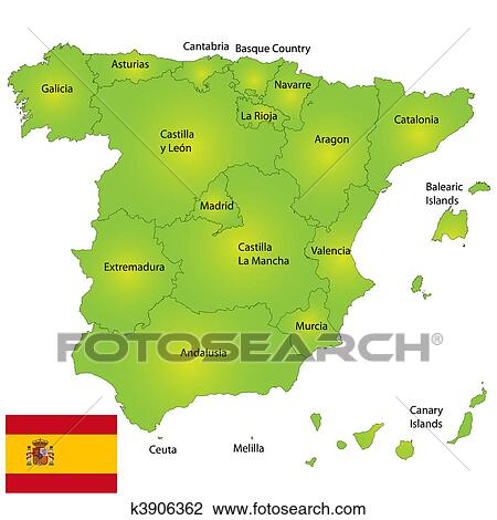 Clip Art of Spain map k3906362 Search Clipart Illustration