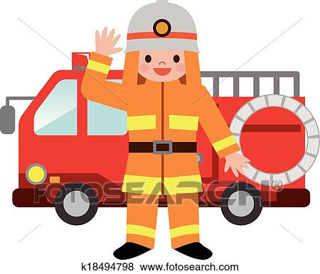 clip art of fire truck and firefighters childre k18494798 search rh fotosearch com fire truck clipart outline fire truck clip art to color