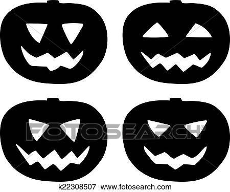 Clipart - halloween, citrouille, vecteur, icônes, ensemble ...