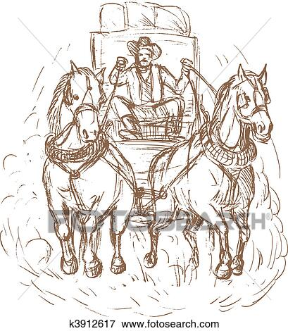 Stock Illustration of Cowboy stagecoach driver and horses ...