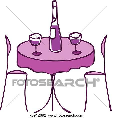 Stühle clipart  Clipart - tisch, mit, wein, und, zwei, stühle, -, romantisches ...