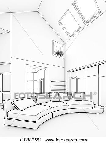 Clipart of modern interior design k18889551 Search Clip Art
