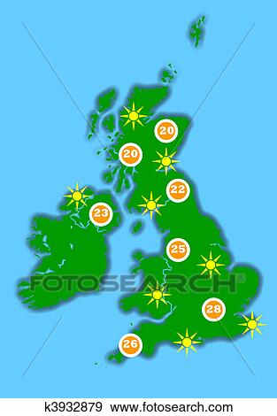 Stock Photograph of Hot UK weather map k3932879 - Search Stock ...