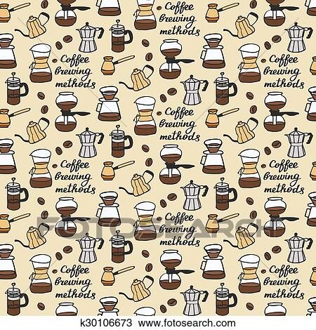 Clipart of Coffee brewing methods. Seamless pattern with ...