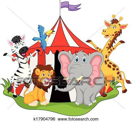 Clipart - animaux, dans, cirque, dessin animé k17904796 - Recherchez ...