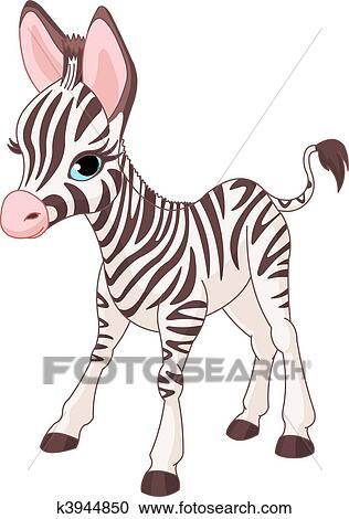 Clipart of Cute Zebra Foal k3944850 - Search Clip Art ...