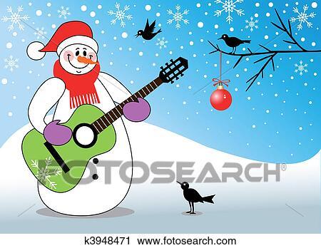 Clipart bonhomme de neige jeu guitare k3948471 - Clipart bonhomme de neige ...