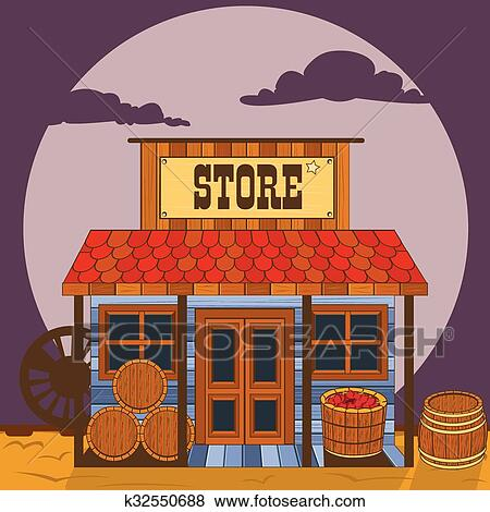 clip art of old western building store k32550688 search clipart rh fotosearch com old western town clipart old western clip art