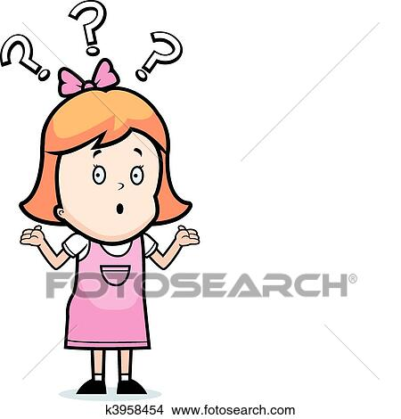 clipart of girl confused k3958454 search clip art illustration rh fotosearch com clipart of girl singing clipart of girl face